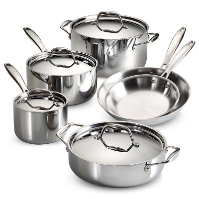 Tramontina Gourmet Tri-Ply Clad Induction-Ready Stainless Steel 10 pc Cookware Set
