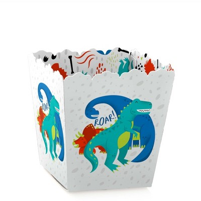 Big Dot of Happiness Roar Dinosaur - Party Mini Favor Boxes - Dino Mite T-Rex Baby Shower or Birthday Party Treat Candy Boxes - Set of 12