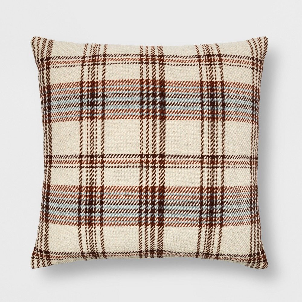 Woven Plaid Oversized Square Throw Pillow Cream/Brown (Ivory/Brown) - Threshold