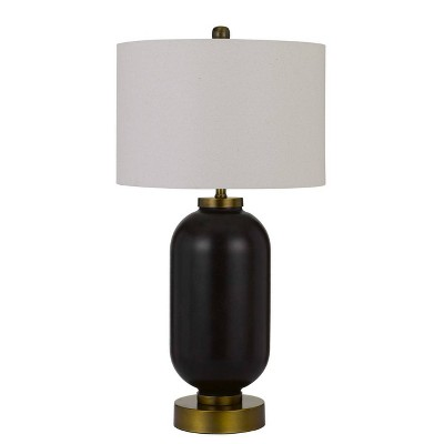 """34"""" Sycamore Glass Table Lamp with Drum Shade Antique Brass/Black - Cal Lighting"""
