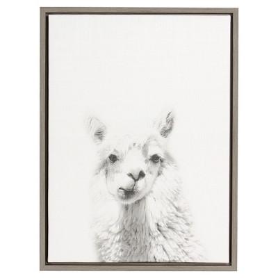 Alpaca Framed Canvas Art Gray (24 x18 )- Uniek