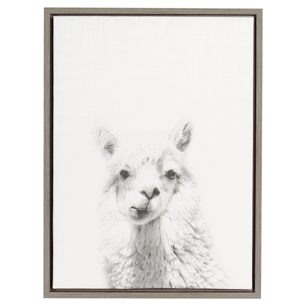 "Image of ""24"""" x 18"""" Alpaca Framed Canvas Art Gray - Uniek"""