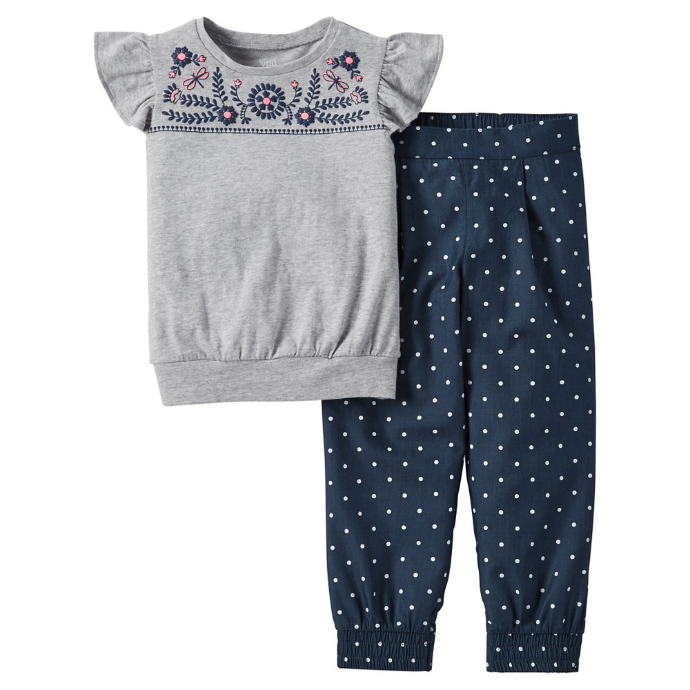 Toddler Girls' 2pc Polka Dot Pants Set - Just One You Made by Carter's Anchor Gray 6X