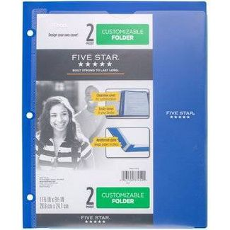 Mead Five Star 2 Pocket Plastic Folder (Color Will Vary)