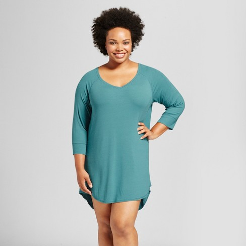 Women s Plus Size 3 4 Sleeve Rib Knit Total Comfort Nightgown - Gilligan    O Malley™ Blue 3449d76e3