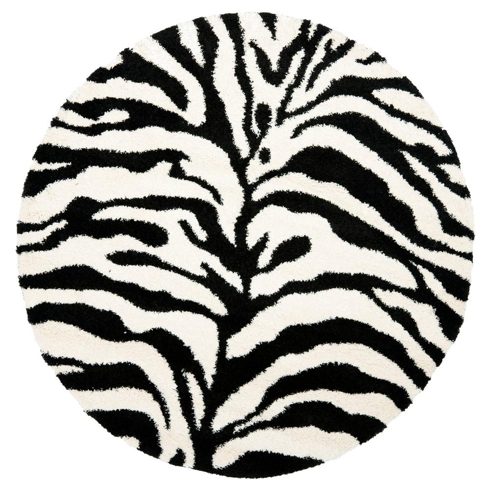 Ivory/Black Animal Print Loomed Round Area Rug - (6'7 Round) - Safavieh, White