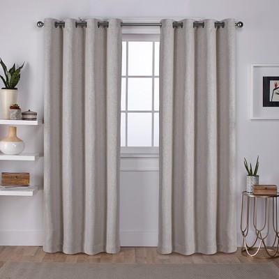 Vesta Heavy Textured Linen Woven Room Darkening Grommet Top Window Curtain Panel Pair Exclusive Home
