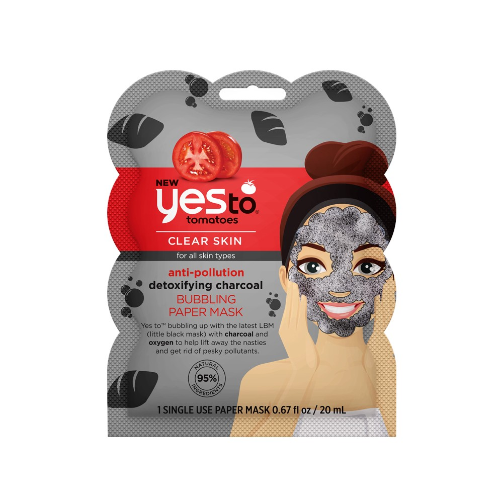 Yes To Tomatoes Anti Pollution Detoxifying Charcoal Bubbling Paper Mask Single Use Facial Treatment