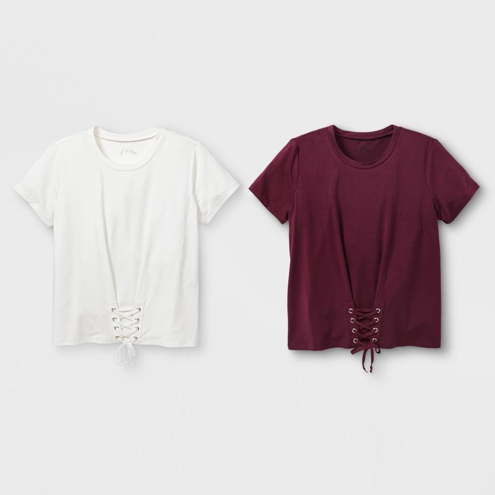 Girls' Corset 2pk Short Sleeve T-Shirt - art class Maroon/White S, Red Off-White