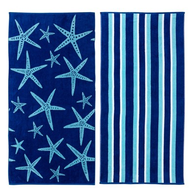 Great Bay Home 2 Pack Jacquard Beach Towels