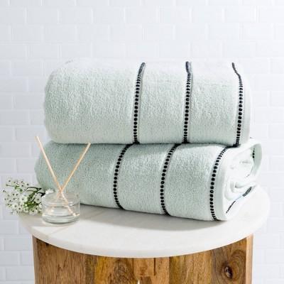 2pc Luxury Cotton Bath Towels Sets Light Blue - Yorkshire Home