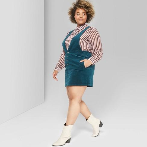 baf6df765e Women s Plus Size Corduroy Pinafore - Wild Fable™ Teal   Target