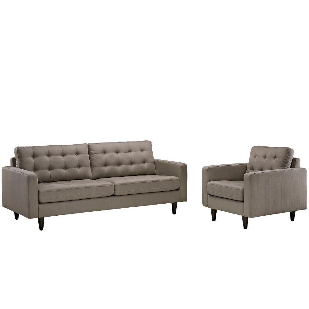Empress Armchair and Sofa Set of 2 Granite - Modway