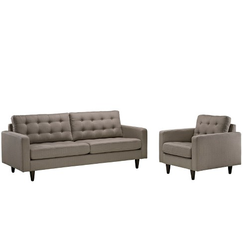Empress Armchair and Sofa Set of 2 Granite - Modway - image 1 of 6