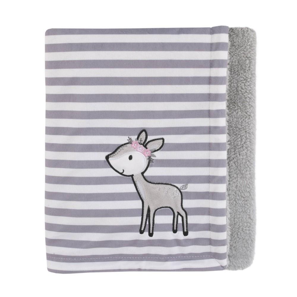 Image of NoJo Little Love Plush Baby Blanket with Pink Deer Applique