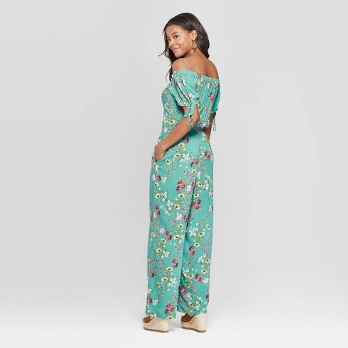 e88759624c8 Women s Floral Print Off The Shoulder Tie Sleeve Jumpsuit - Xhilaration™    Target
