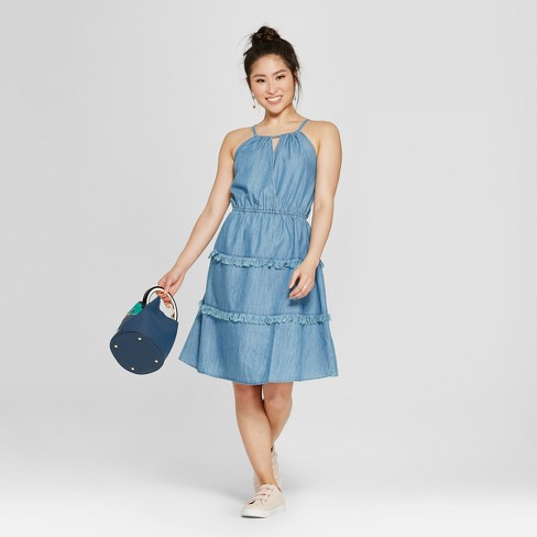 Women's Fringe Halter Dress - Spenser Jeremy - Denim Blue - image 1 of 2