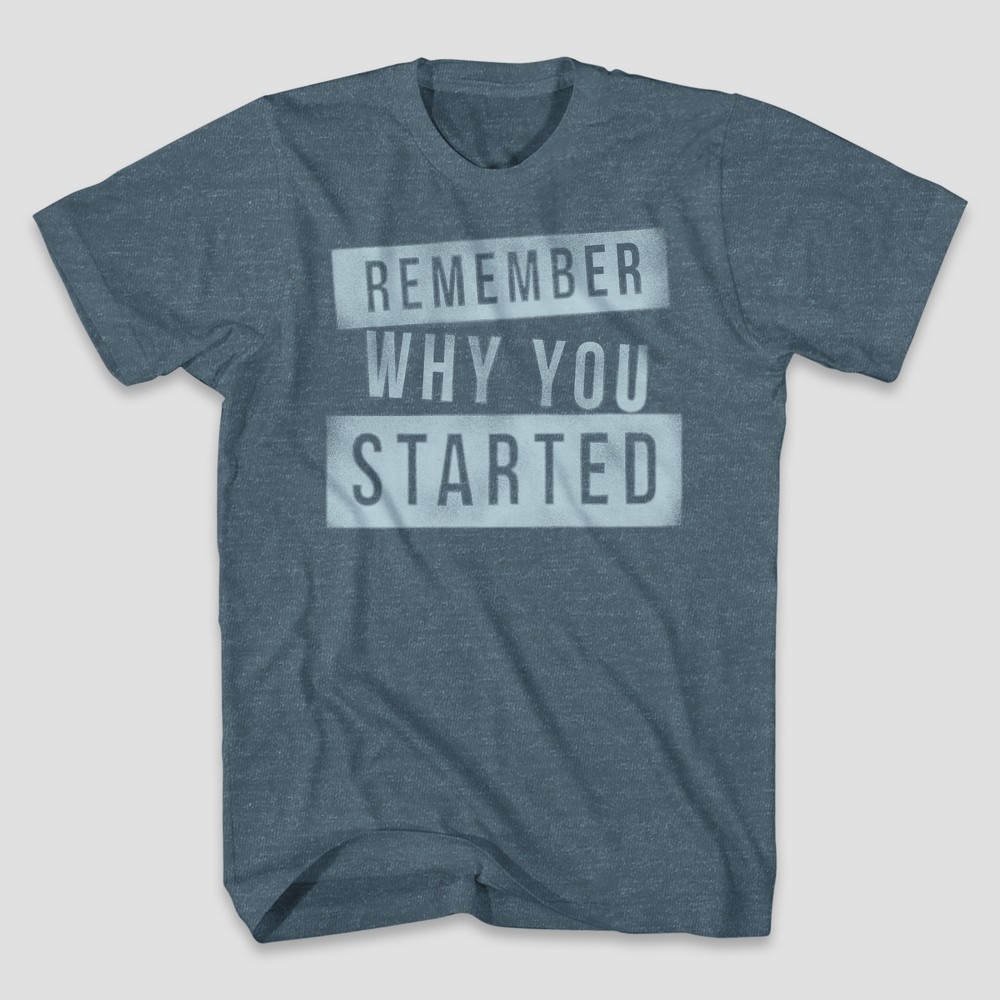 Men's Remember Why Short Sleeve Graphic T-Shirt - Denim Heather S, Blue