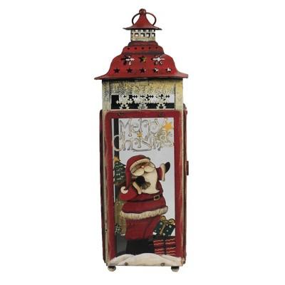 """Christmas 15.25"""" Santa Tea Light Lantern Tea Light Cardinal Laser Cut  -  Decorative Figurines"""
