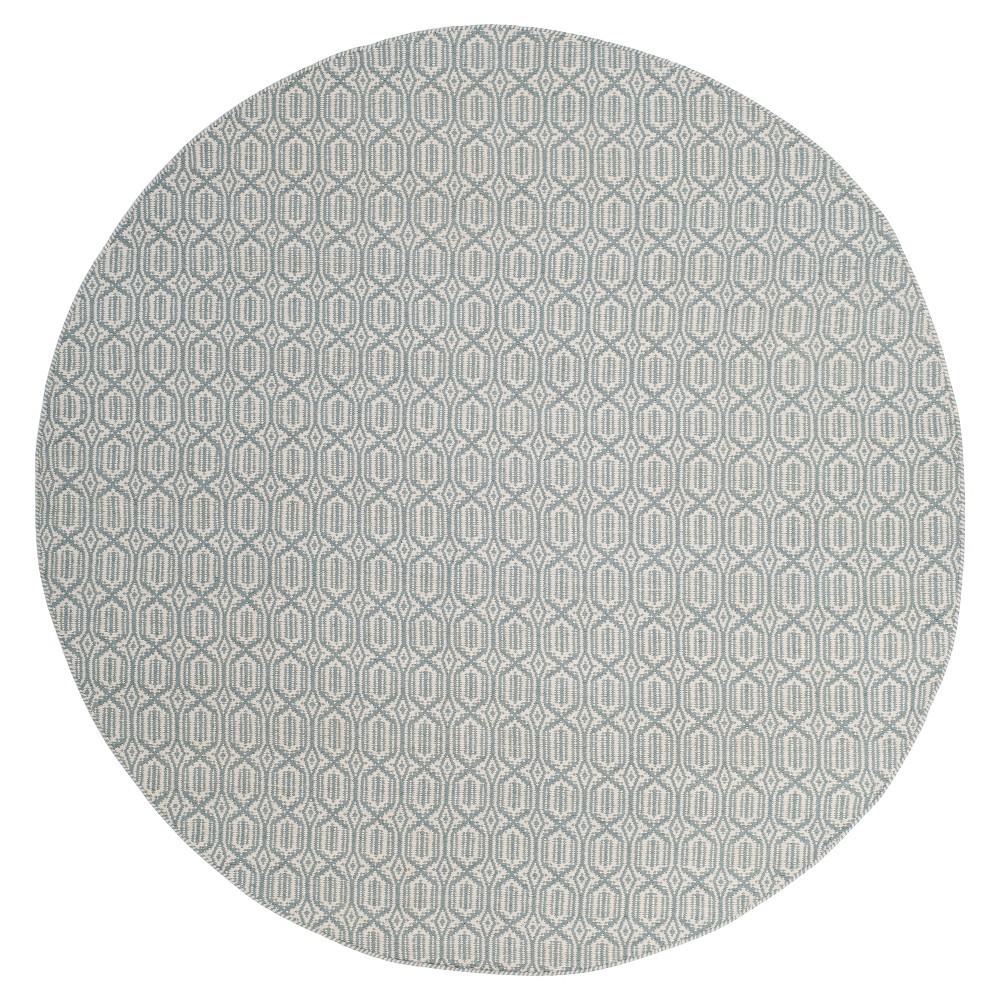 Ivory/Blue Geometric Flatweave Woven Round Area Rug 6' - Safavieh