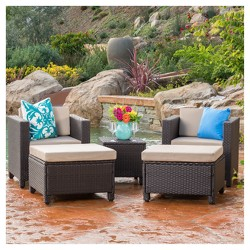 Puerta 5pc All-Weather Wicker Patio Chat Set - Dark Brown/Beige - Christopher Knight Home