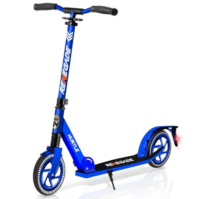 Hurtle Renegade Lightweight Foldable Teen and Adult Adjustable Ride On 2 Wheel Transportation Commuter Kick Scooter, Blue