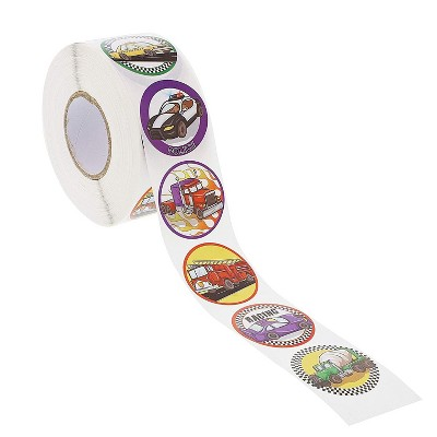 Blue Panda 1000-Count Cars and Trucks Round Circle Sticker Roll for Kids, Party Favors, Scrapbook, 1.5 in