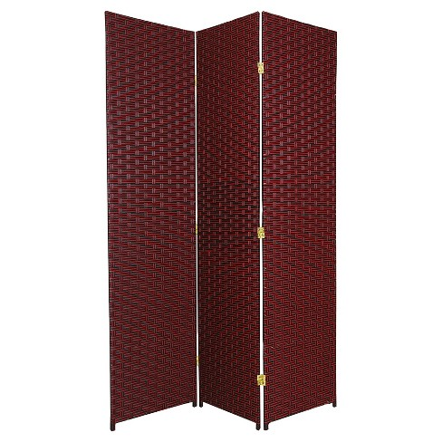 6 ft. Tall Woven Fiber Room Divider - Red/Black (3 Panels) - image 1 of 1
