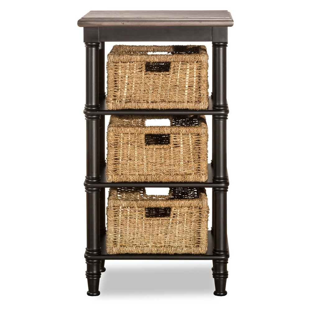 Image of Seneca Basket Stand Three Baskets Included Wood Driftwood Top/Sea White Base/Natural Seagrass - Hillsdale Furniture
