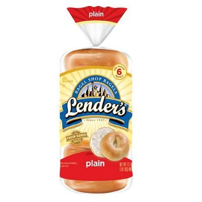 Lender's Plain Bagel Shop Bagels - 17.1oz/6ct