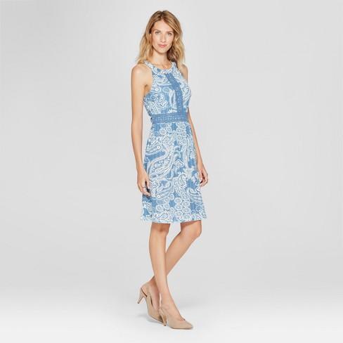 9827dfdf4bea Women's Printed Crochet Detail Dress - Spenser Jeremy - Blue/White