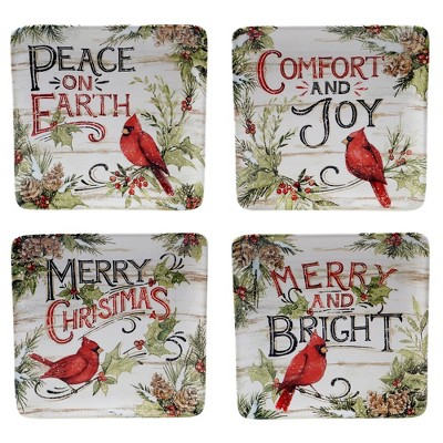 "8.5"" 4pk Earthenware Evergreen Christmas Dessert Plates - Certified International"