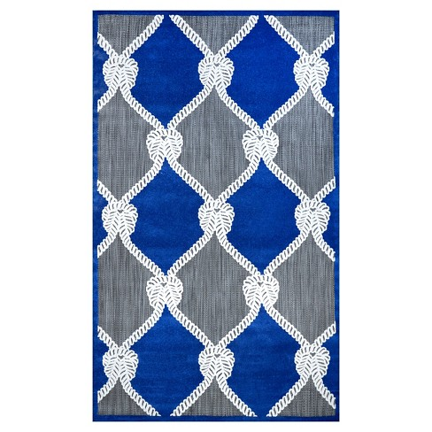 "nuLOOM Nautical Ropes Outdoor Adrian Area Rug - Blue (7'6""x10') - image 1 of 2"