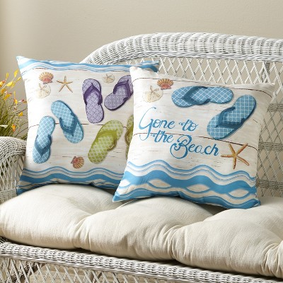 Lakeside Flip Flop Accent Pillows with Beachy Print for Couches and Beds - Set of 2
