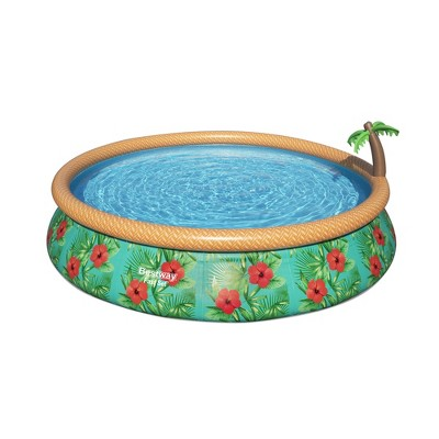 Bestway 57415E 15 Foot x 33 Inch Fast Set Paradise Palms Inflatable Above Ground Backyard Swimming Pool Set with Filter Pump and Cartridge
