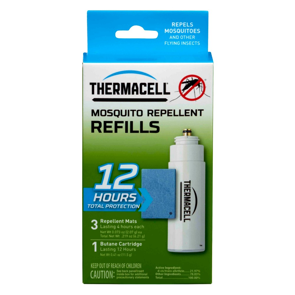 Thermacell 12 Hour Refill, Multi-Colored The Thermacell Mosquito Repeller system effectively repels mosquitoes, black flies, and other biting insects by creating a 15 x 15-foot zone of protection for bug-free comfort. Ideal for use while you are camping, hunting, fishing, gardening, and around the backyard, Thermacell products have been evaluated by the Epa for safety and effectiveness Color: Multi-Colored.