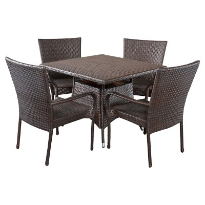 Wesley 5pc Wicker Patio Dining Set - Brown - Christopher Knight Home