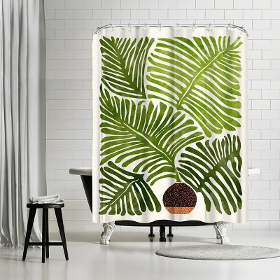 "Americanflat Modern Fern by Modern Tropical 71"" x 74"" Shower Curtain"