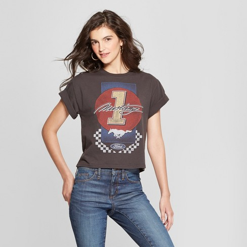 723d180c709 Women s Short Sleeve  1 Mustang Cropped Graphic T-Shirt - Mighty Fine  (Juniors ) Black