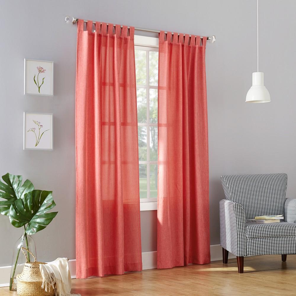 Joshua Casual Textured Semi-Sheer Tab Top Curtain Panel Coral (Pink) 40x63 - No. 918