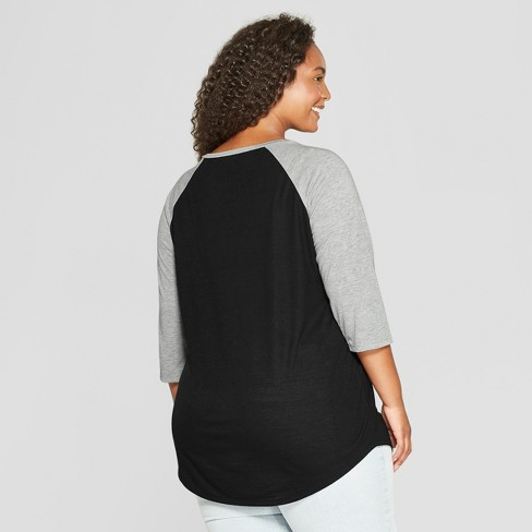 Womens Stranger Things Plus Size 34 Sleeve Merry Christmas Raglan