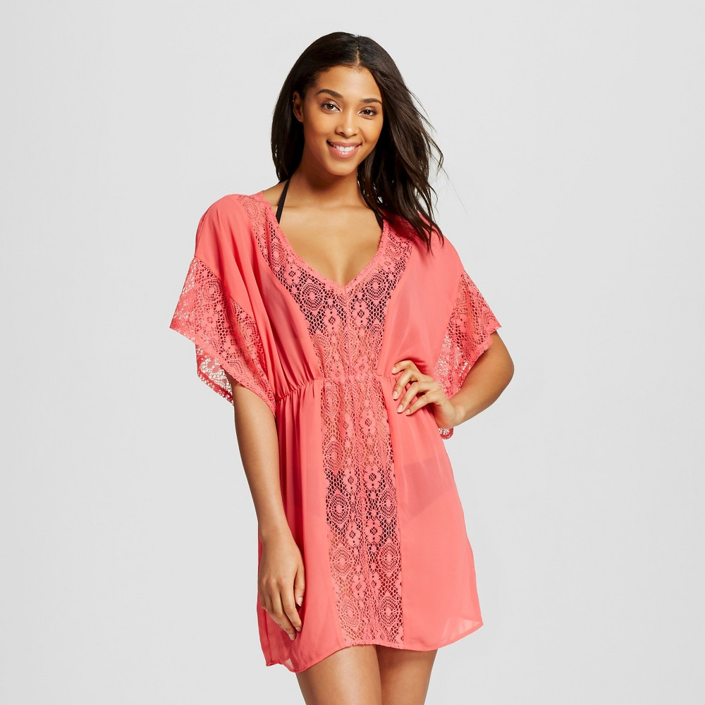 Women's Crochet Panel Cover Up Dress - Xhilaration Coral (Pink) L