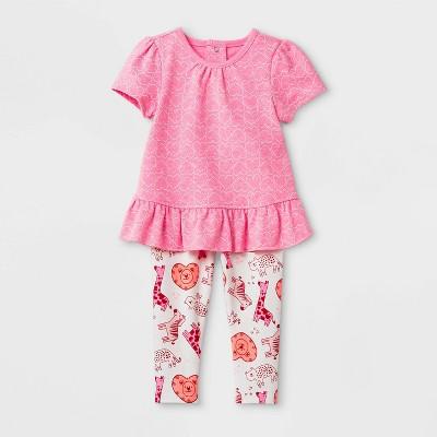 Baby Girls' 2pc Valentine's Top & Bottom Set - Cat & Jack™ Pink Newborn