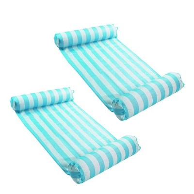Magic Time International 91613VM Inflatable PVC Vinyl Striped Hammock Chair Pool Float, Teal and White with Double Inflatable Tubes (2 Pack)