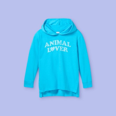 Girls' Oversized Graphic Hoodie - More Than Magic™ Turquoise