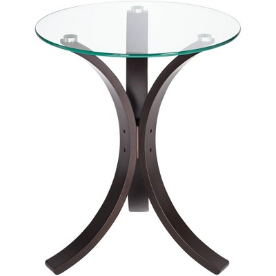 """Studio 55D Niles 17 3/4"""" Wide Bent Wood and Glass Modern Accent Table"""