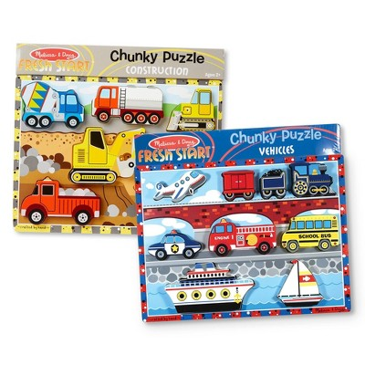 Melissa & Doug Wooden Chunky Puzzles Set - Vehicles and Construction 15pc