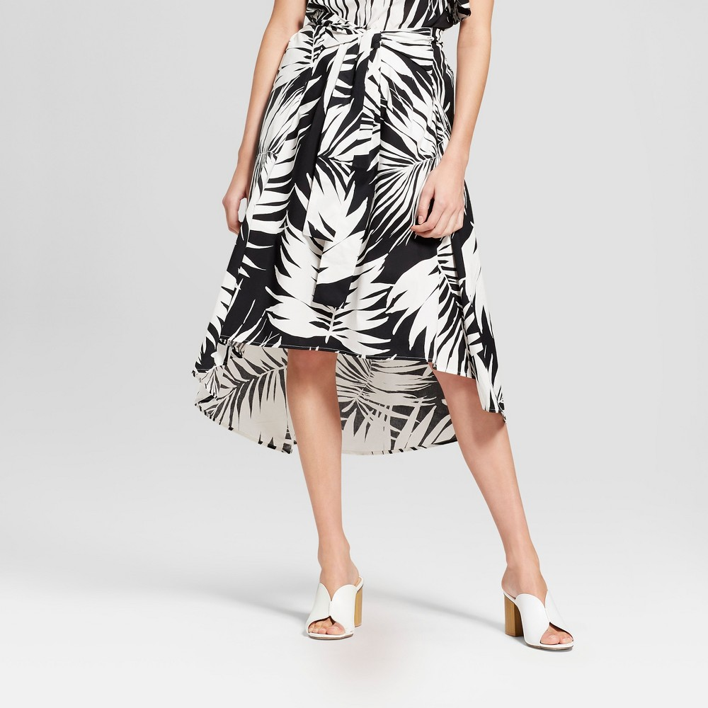 Women's Palm Print Tie Front Midi Skirt - Who What Wear Black/White 10, Black/White Palm Print