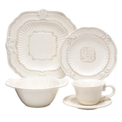American Atelier Baroque 20pc Dinnerware Set Cream
