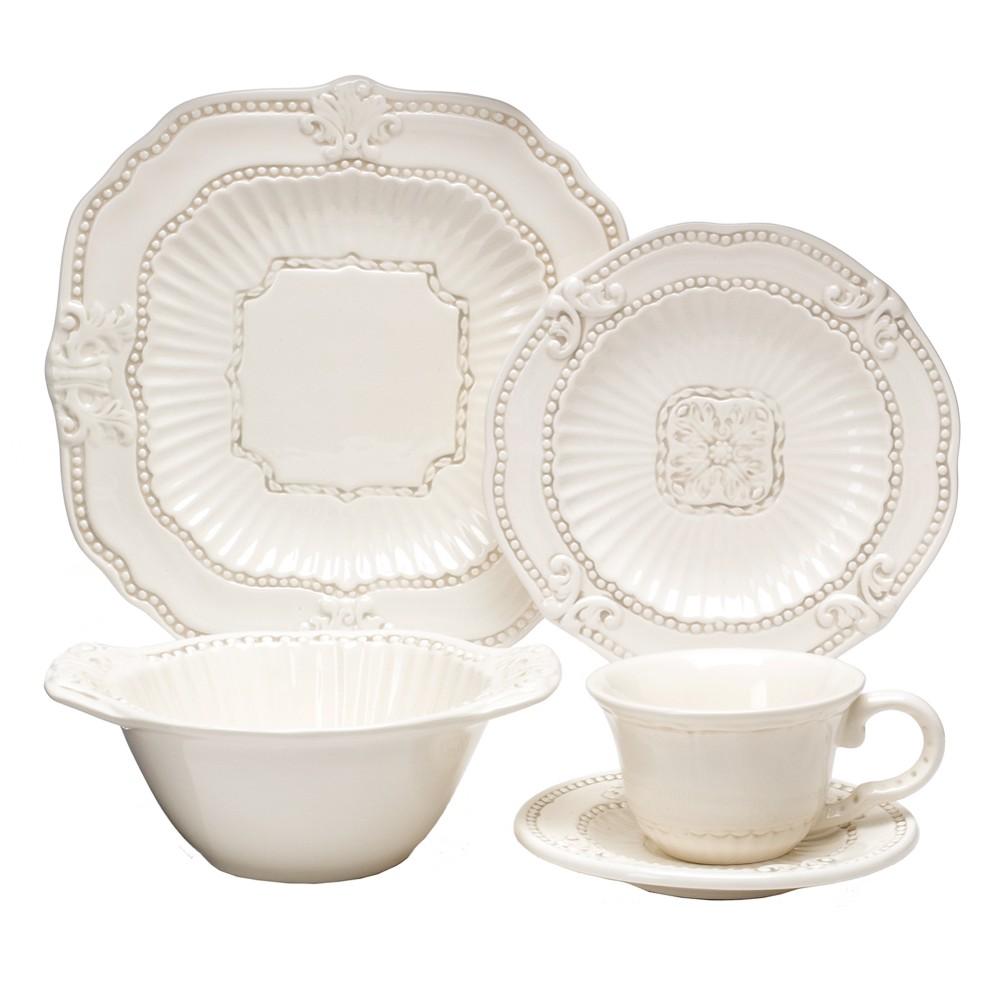 Image of American Atelier Baroque 20pc Dinnerware Set Cream